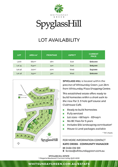 Spyglass Hill at Whitsunday Green Lot Availability Price List